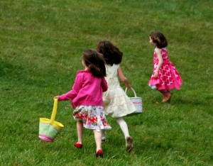 Easter kids running