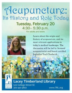 Acupuncture: Its History and Role Today @ Lacey Timberland Library | Lacey | Washington | United States