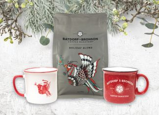 Batdorf and Bronson Festive Mugs and Coffee, White Background