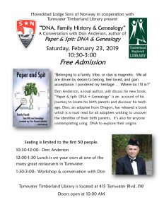 DNA, Family History & Genealogy- Free Seminar @ Tumwater Timberland Library
