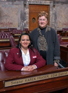 Senator Karen Fraser poses with a Senate Page that she sponsored during the legislative session.