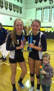 Emily and Megan VanMarter with the first place trophy.