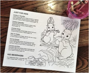 The kids menu at the Iron Rabbit includes kid favorites crafted with organic and local ingredients.
