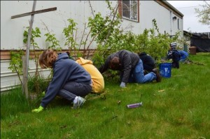 NWCH students worked on home and yards to pitch in on National Rebuilding Day.