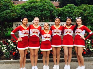 Leadership from left to right - Co-Capitan Isabelle Shrestha, Lieutenant Ella Collins, Capitan Carigna Valtierra, Capitan Kristelle Carigna, Co-Capitan Nancy Lang, and Lieutenant Maddy Soran