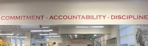 The C.A.D. motto is displayed in the CHS weight room - a reminder for all players each day.