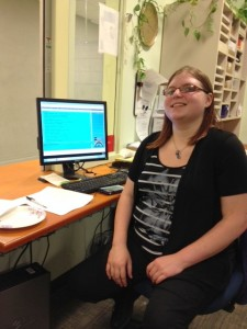 Maddy's work in the Student Accounts office offers her the laid-back office atmosphere that she has found fits her well.