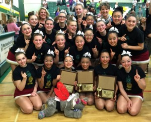 At the districts competition, the Cougarettes got first in every category they competed in. This is the fifth consecutive year they've been district champions.