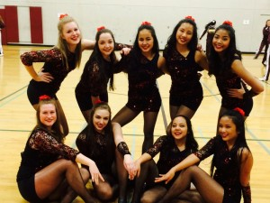 The nine girls who compete in the dance routine (from left to right, back to front: Annabel Parody, Maddie Soran, Amy Ly, Isabelle Shrestha, Nancy Lang, Ally Barton, Ella Collins, Carina Valtierra, Kristelle Cariaga. )