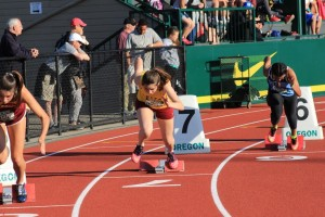 Haley Chamberlin gets ready for the 4X200 relay at Oregon Relays.