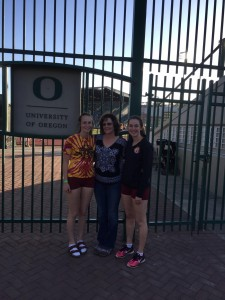 Both Haley and Hannah share the record books with their mother, Debra Chamberlin (center).