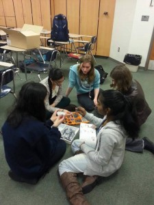 Dot Diva members build robots that they will later be able to program.