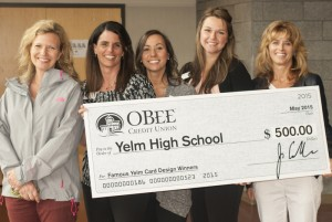 O Bee Presents $500 to Yelm High School Administrators (l to r) Carrie Winiecki ASB Advisor, Yelm HS, Shauna Hergert, Alicia Damron and Shannon Grant of O Bee and Corrina Durocher, Assistant Principal, Yelm HS.