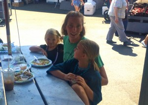 Emily Stephens and her daughters Cici (left) and Hazel enjoy a favorite lunch at Soba.
