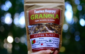 Taste Happy's granola is vegan and contains no GMOs or gluten. It comes in three flavors.