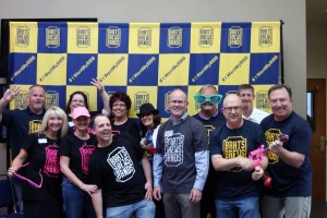 Gateway Rotary Club members show off their new Brats, Brews and Bands T-shirts.