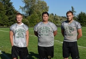 Timberline Football captains: senior Ryan Birbeck (left), junior Camren Bowes (center) and senior James Strong (right)