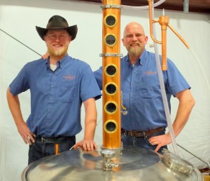 John Bourdon and his son, Justin, serve as co-distillers at Sandstone Distillery.