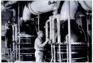 IP Callison stills, seen here in production, circa 1960, are being re-purposed by John Bourdon of Sandstone Distillery.