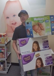 Benson grew up in a family of six brothers and two sisters and has young children of his own. He knows the importance of having a supply of diapers in the house.