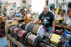 Ken Nelsen's over-sized rock tumblers are center stage in his workshop.