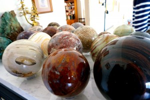 Ken Nelsen has an amazing collection of polished spheres on display in his house.