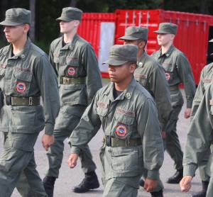 Cadet David Gaston of Lacey marches during a drill ceremony at the Washington Youth Academy in Bremerton.