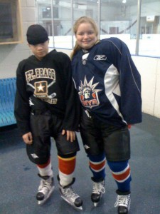 A young Leah (10) and her brother Ben (13) practicing at the rink, trying to improve her skating skills so she could try out for a team.