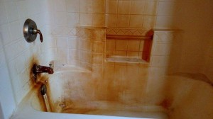 Maid Perfect faced a tough job when cleaning this severely rust stained shower.