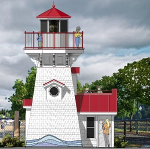 A rendering by Mort James III, AIA shows the new Lighthouse Lookout exhibit under construction now at The Hands On Children's Museum.