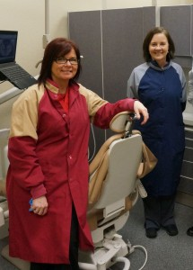 Linda Barrett (right) and her assistant Shelly (left) are two of the hardworking faces behind the many dental services performed for the homeless and the poverty stricken in the greater Olympia area.