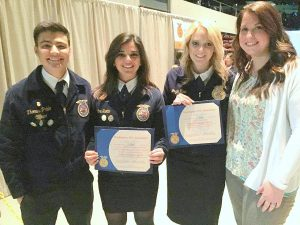 The Yelm High School FFA chapter has been chosen as a finalist to compete for a 2016 Model of Excellence award, the highest honor awarded to a chapter by the National FFA Organization. FFA Officers (from left) Thomas Pablo, Jozie Reid and Maggie Scotto with Advisor Lisa Todisco. Photo courtesy: Yelm Community Schools.