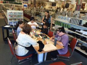 Offered every Sunday for $25, guests can learn basic beading techniques and create a bracelet and pair of earrings. Photo credit:Shipwreck Beads