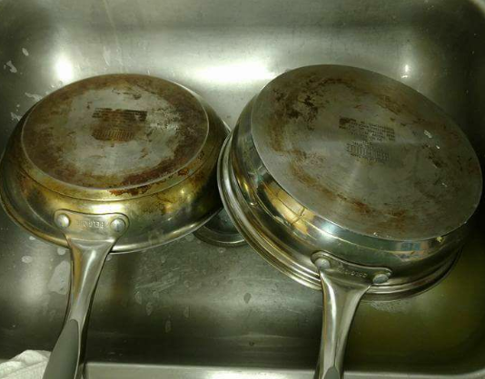 cleaning pots and pans