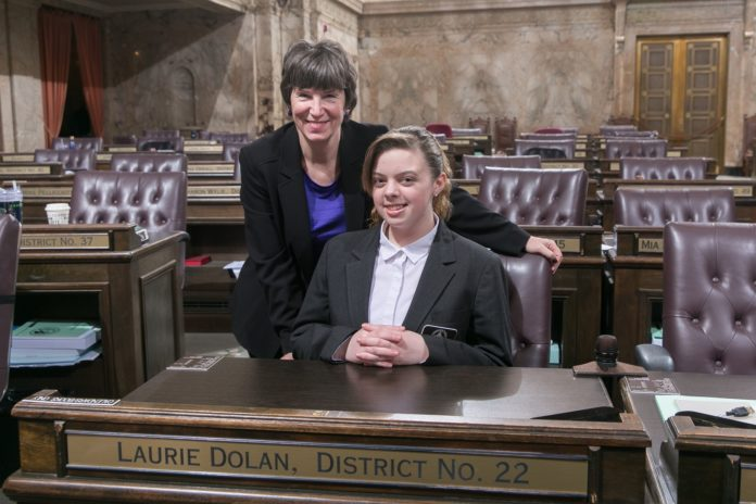 Rep. Dolan with Page Anna McClatchey, February 22, 2018.