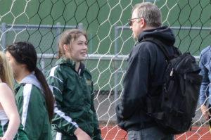 Timberline High School track Makenna Hansen  with coach Todd Taylor