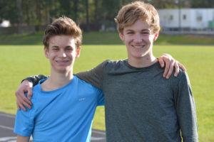 Northwest Christian High School boys track Cameron Nielson and Noah Phillips