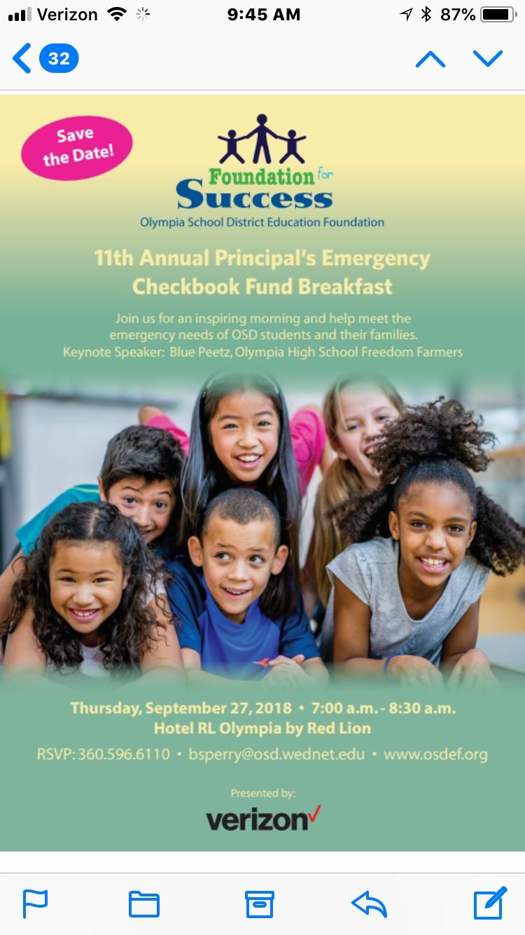 Olympia School District Calendar.Osdef Principal S Emergency Checkbook Fund Breakfast Thurstontalk