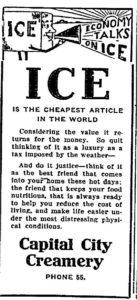 Capital City Creamery ice ad