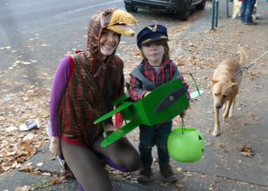 Thurston County Trick or Treat Downtown Olympia trick or treat with the dog