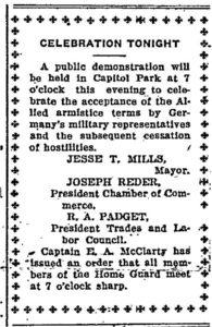 Armistice parade notice