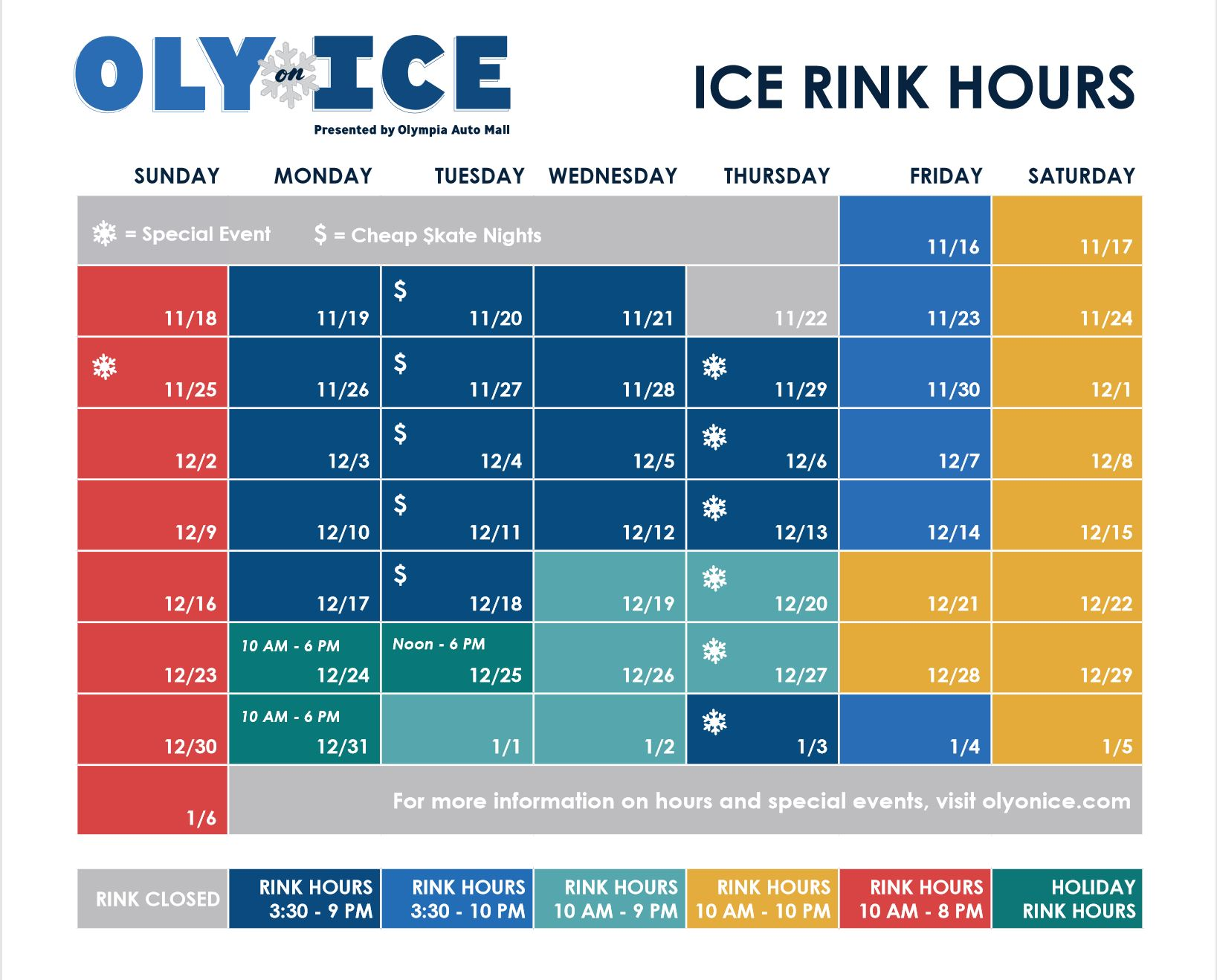 Oly on Ice Rink hours