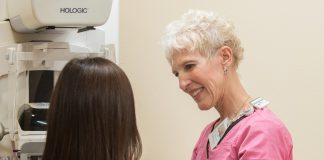 TRA Medical Imaging Olympia Womens Center Kathy Mammography Technician with patient