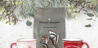 Batdorf and Bronson Festive Mugs and Coffee, White Background