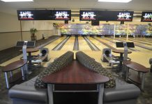Interior of Aztec Lanes Bowling Alley