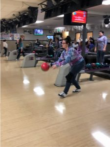 North Thurston High School bowler with red ball