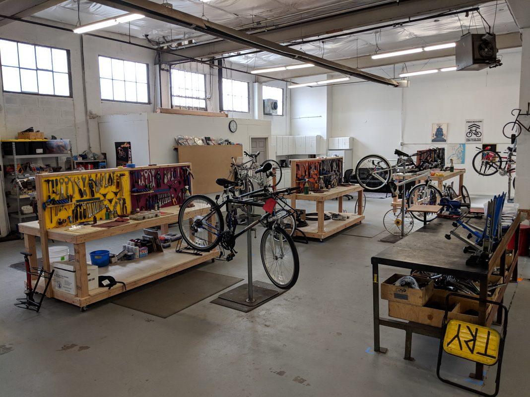 Intercity Transit Bike MVP Program Shop work space with stands