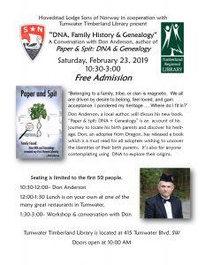 DNA, Family History & Genealogy- Free Seminar @ Tumwater Timberland Library