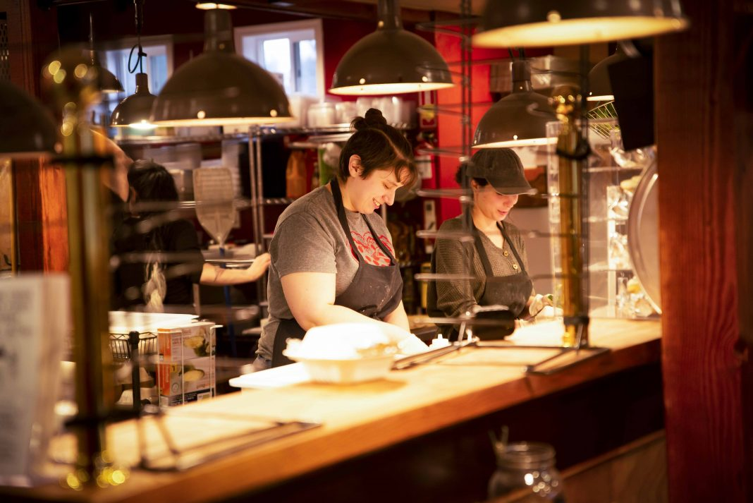 Stone Creek Wood Fired Pizza Employees Preparing Pizza Maggie