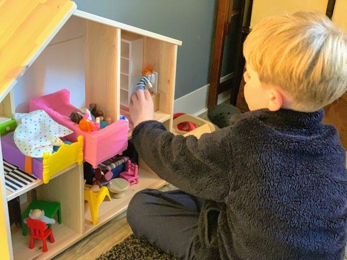 Cary Hamilton Blonde Boy with doll house